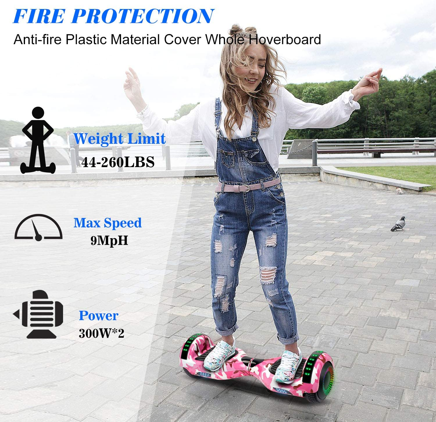 "Amazon.com: SISIGAD Bluetooth Hoverboard 6.5"" Self Balancing ..."