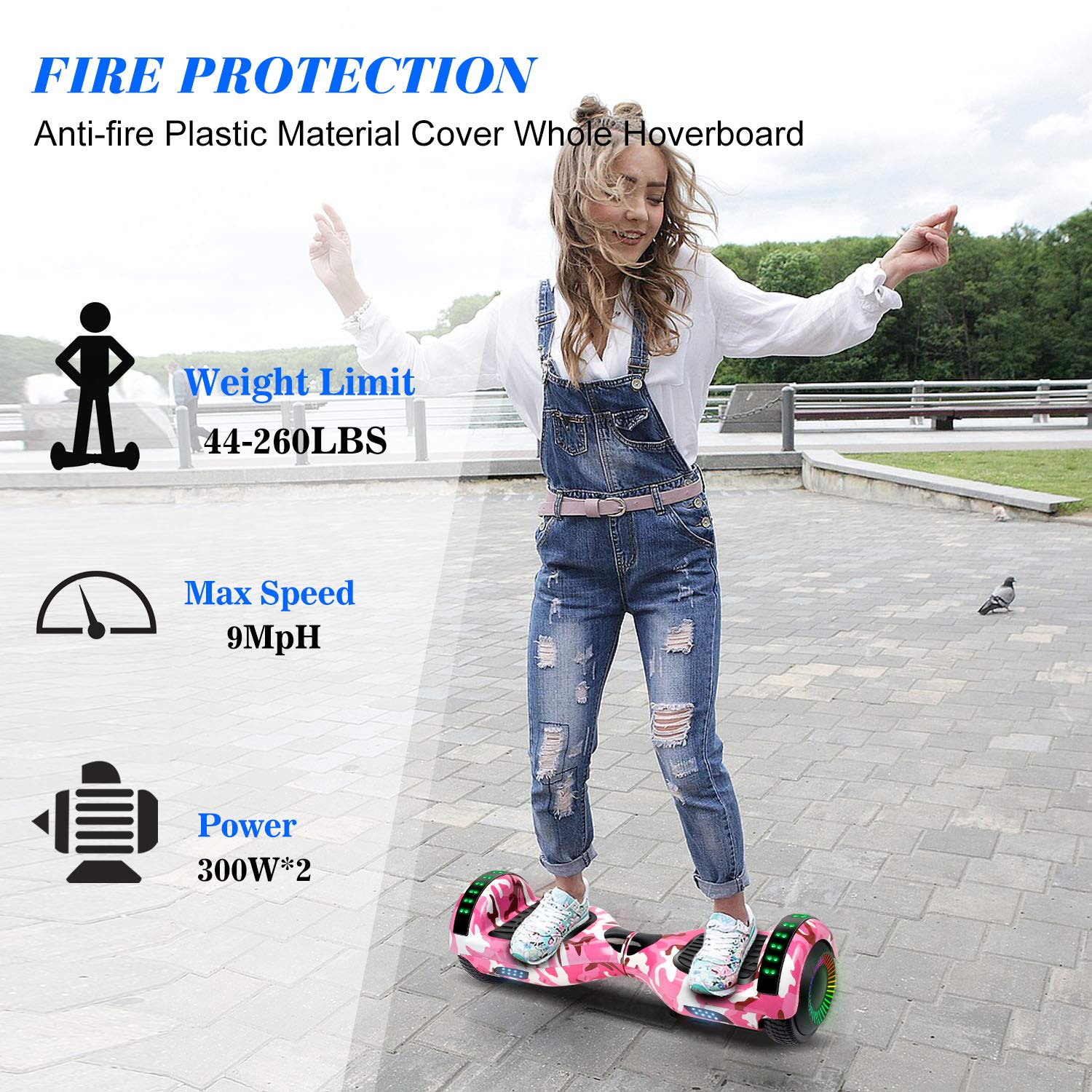 SISIGAD Hoverboard Self Balancing Scooter 6.5'' Two-Wheel Self Balancing Hoverboard with Bluetooth Speaker and LED Lights Electric Scooter for Adult Kids Gift UL 2272 Certified Fun Edition - Pink Camo by SISIGAD (Image #5)