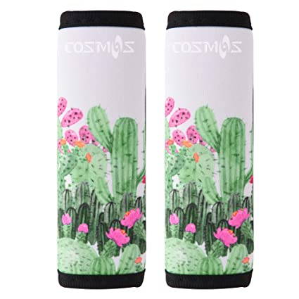 5eac12a0d298 COSMOS Pack of 2 Neoprene Luggage Handle Wrap/Handle Grip/Luggage  Identifier for Travel Bag Luggage Suitcase (Cactus Pattern)