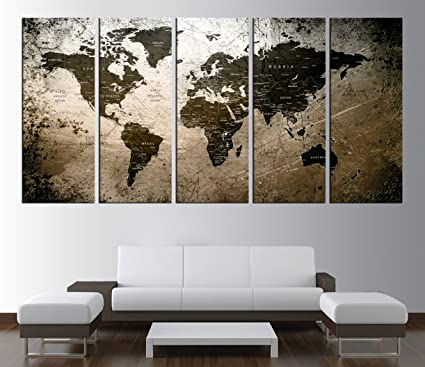 Large Art World Map Canvas print, Extra Large Push pin World Map Wall Art,  World Map Art, Bedroom art decor, modern Wall Art canvas k598