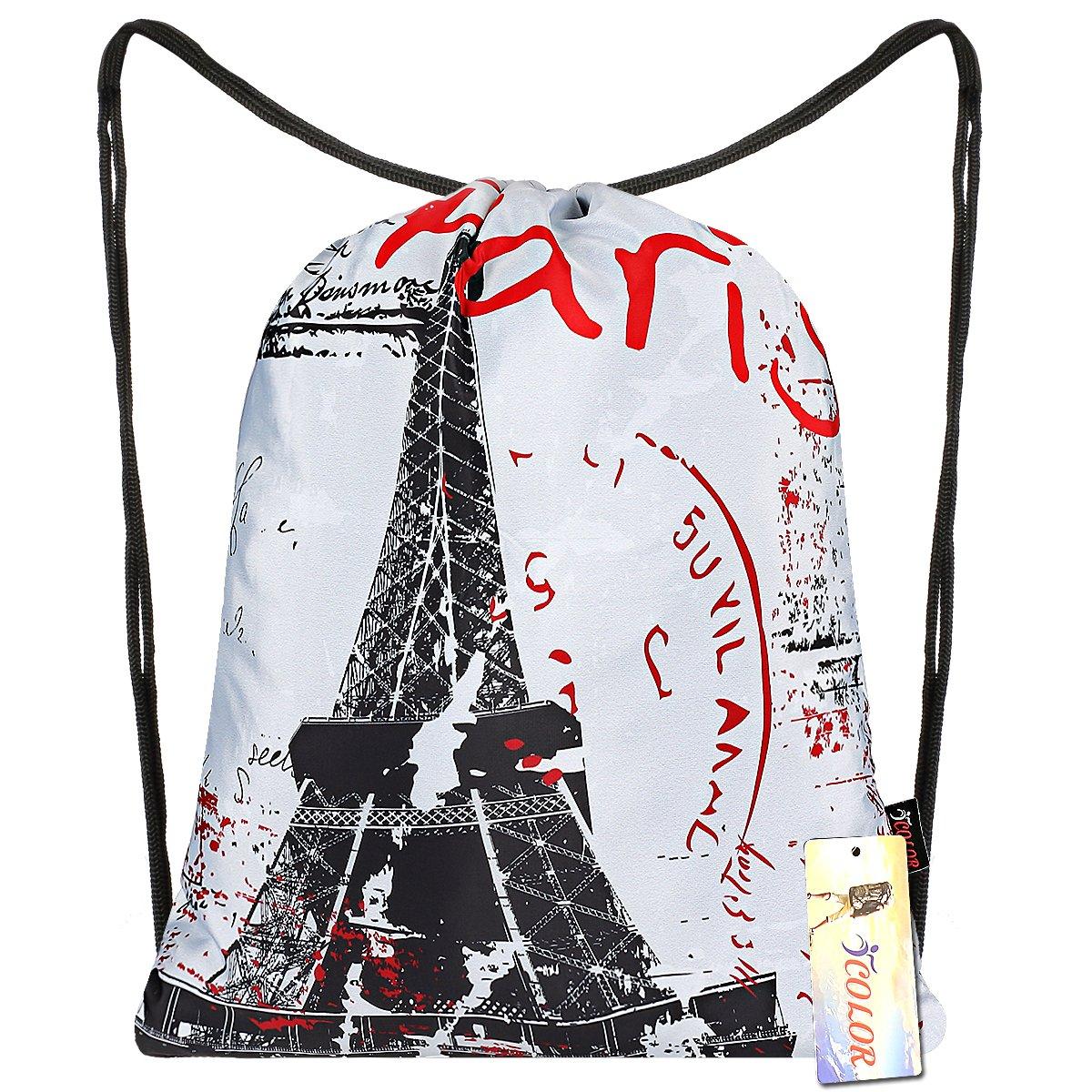 iColor Sackpack,Drawstring Backpacks,Stylish Multipurpose Girls Nylon Drawstring Bags Gym Bags,Teen Dance Bag, Lightweight Gym Bag for Women Cycling Hiking,Team Training Gymsack (Paris)