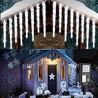 Geemoo Luces Navidad Exterior, 20 Carámbanos 90 LEDs, Guirnalda Luces Exterior Conectable con Enchufe 8 Modos…