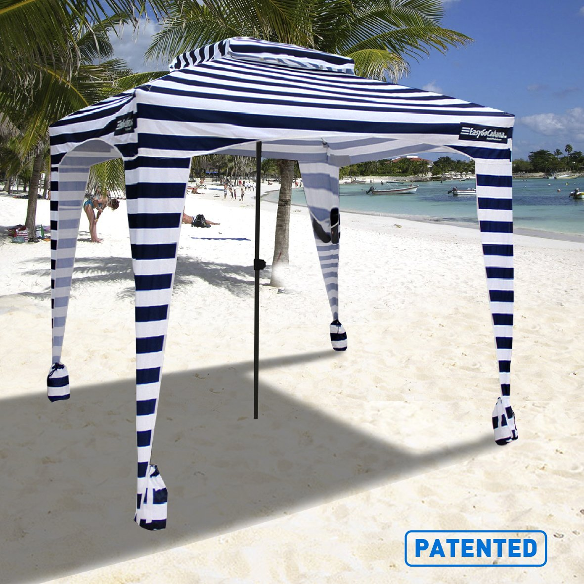 EasyGo Cabana - 6' X 6' - Beach & Sports Cabana Keeps You Cool and Comfortable. Easy Set-up and Take Down. Large Shade Area. More Elegant & Classier Than Beach Umbrella (Blue White Striped) by EasyGoProducts