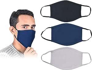 3 Piece Set Pure Cotton Reusable Face Mask - Fabric Face Cover, Washable & Breathable Mouth Mask (Black,White,Blue)