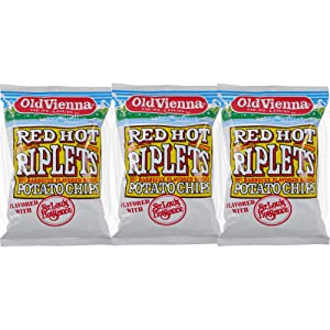 Old Vienna of St Louis Red Hot Riplets Hot BBQ Flavored Potato Chips Flavored with St Louis Style Hot Sauce 5oz Bag(3 Pack)