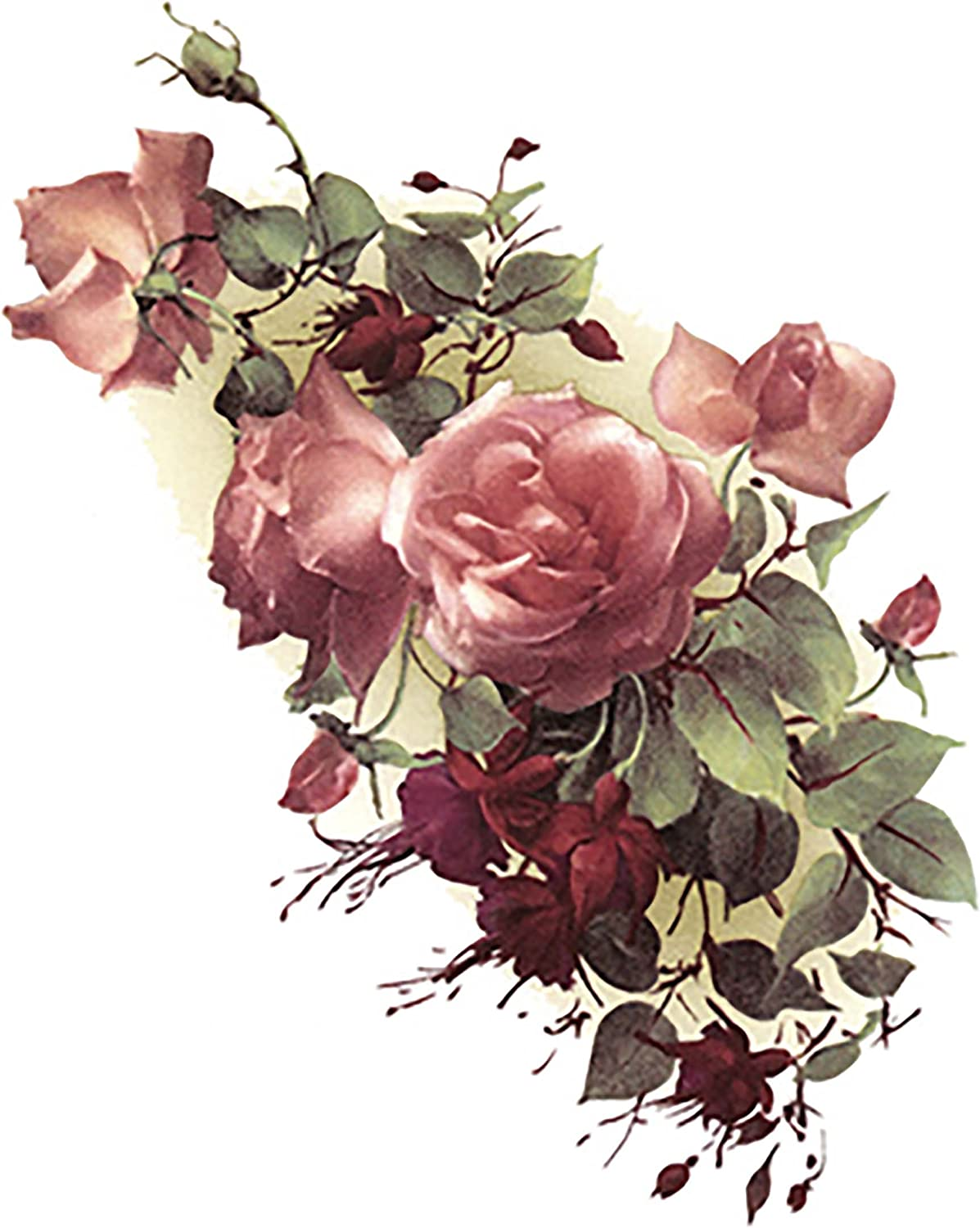 Pink Rose Fuchsia Flowers 2880 Waterslide Ceramic Decals By The Sheet 18 pcs 2 X 1-1//4 Select-A-Size