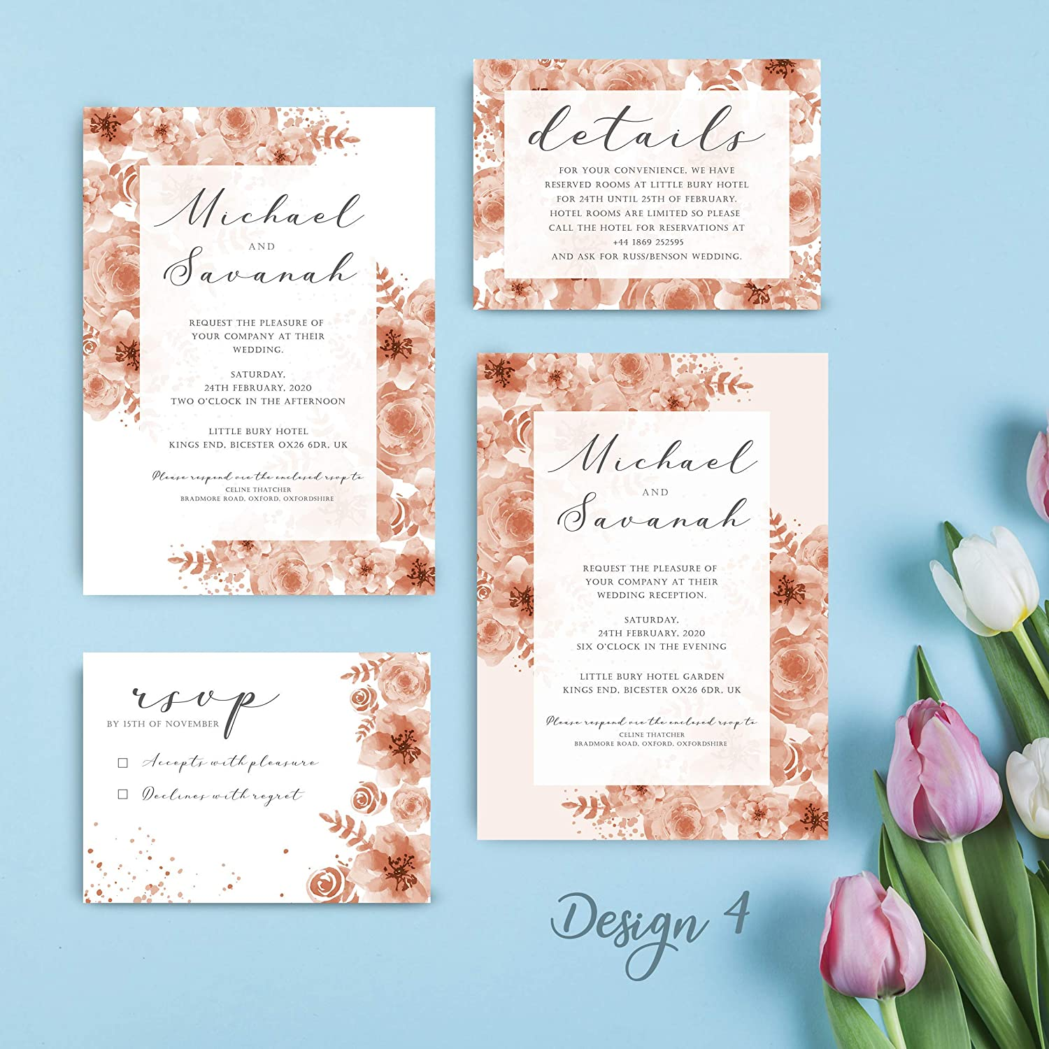 Wedding Day//Evening Personalised Floral Themer Wedding Invitation Set Cards RSVP Detail//Info Card