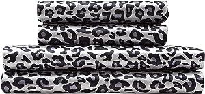 TORREY LANE 100% Luxury Satin Polyester Sheet Set, Snow Leopard Print, California King