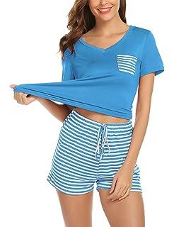 Lomon Pijama Mujer Verano Corto Conjunto de Pijamas Pantalones Manga Corto 2 Piezas