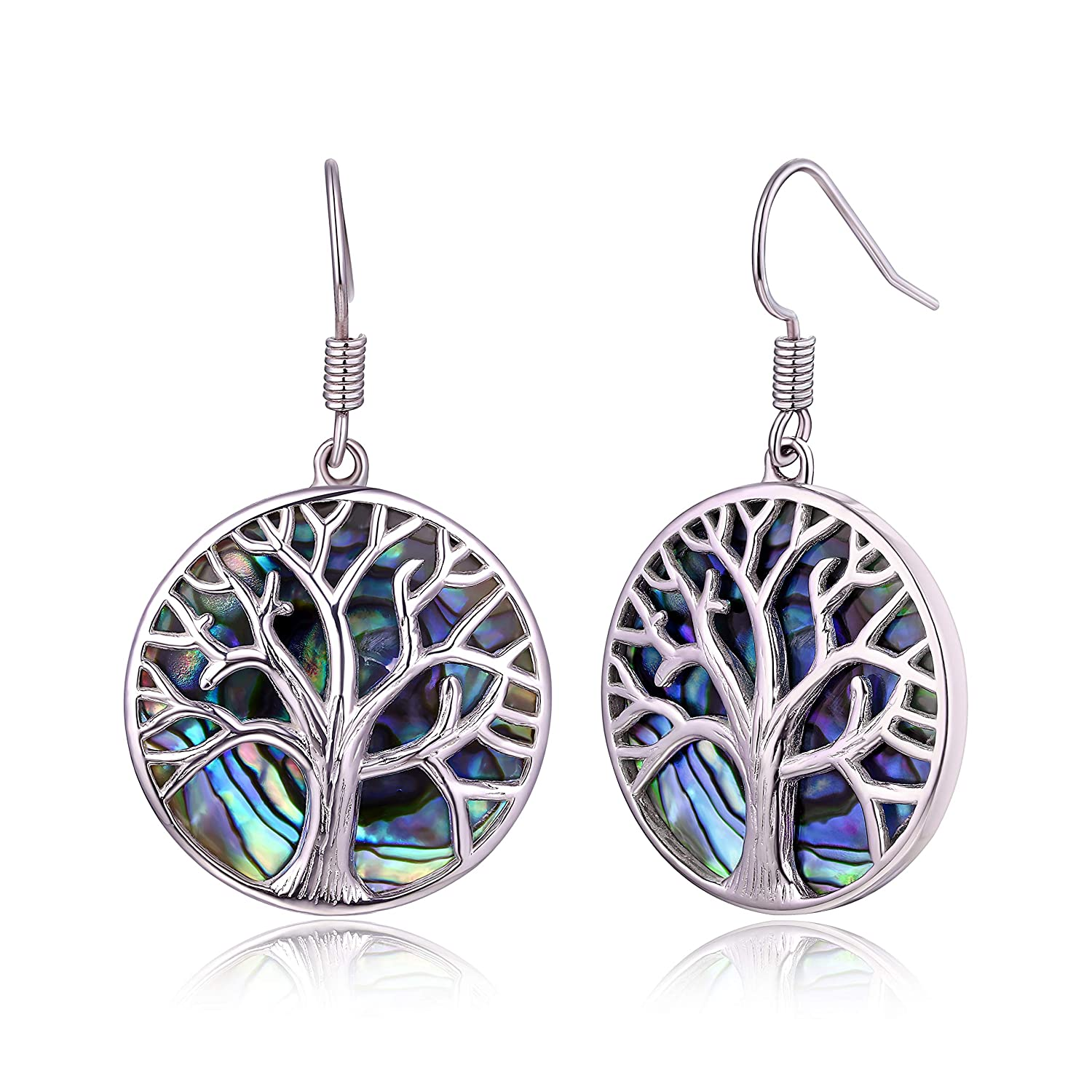 Barzel Lab-Created Abalone Pearl /& 18K White Gold Plating Tree of Life Dangling Earrings