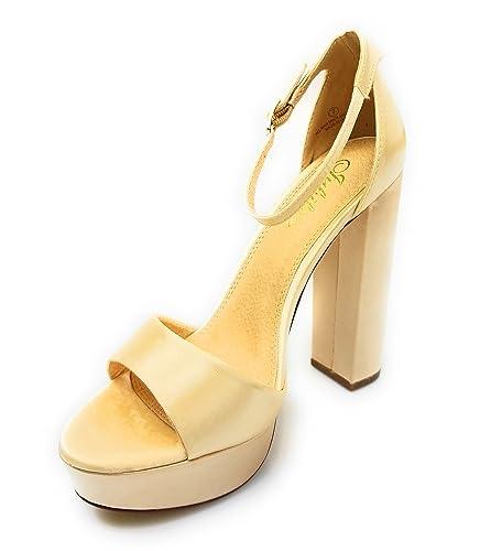 24767639452 Liliana Platform Basic Heel Open Toe Satin Ankle Strap Chunky Block