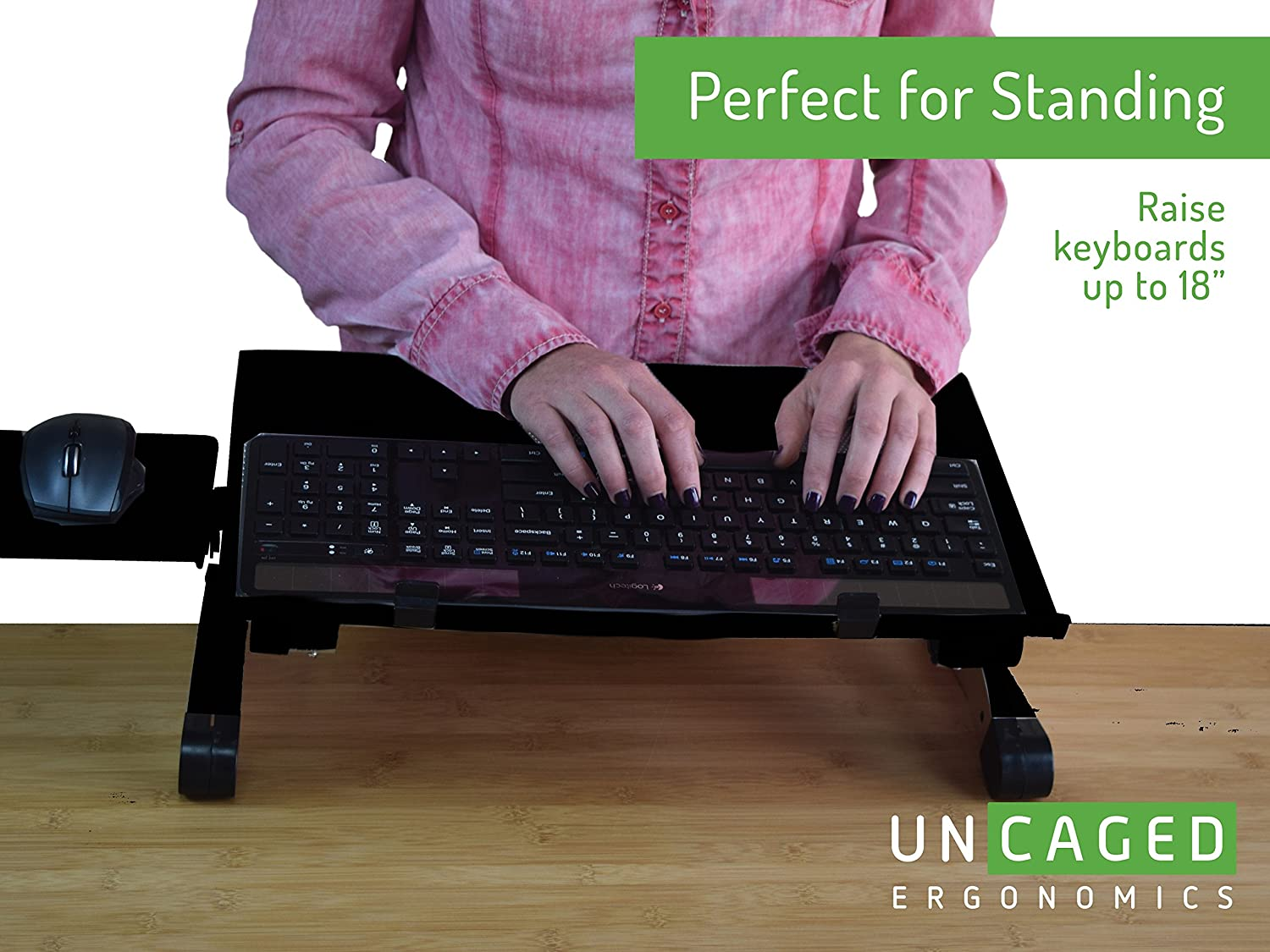 Amazon.com: Uncaged Ergonomics WorkEZ Keyboard Tray U0026 Mouse Pad, Adjustable  Height U0026 Angle Ergonomic Standing Computer Keyboard Stand, Black (WEKTb):  Office ...