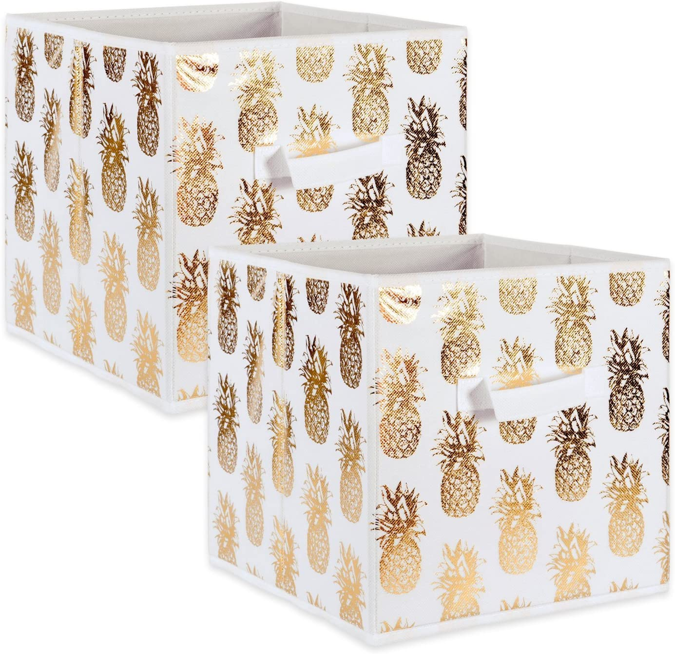DII Foldable Fabric Storage Containers (13x13x13) Pineapple Set of 2, Large (2), White/Gold