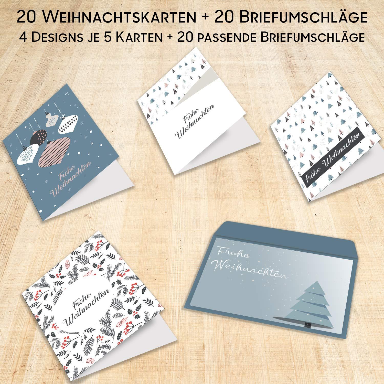 Weihnachtskarten 20er Set mit Umschl/ägen Urdays Frohe Weihnachten Klassisch Design Klappkarten f/ür Weihnachtsgr/ü/ße 20 St/ück