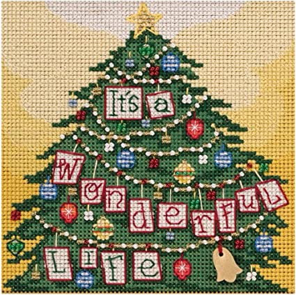 Cross Stitch Kit Banar Designs Makes 6 Perforated Paper Christmas Ornaments NEW