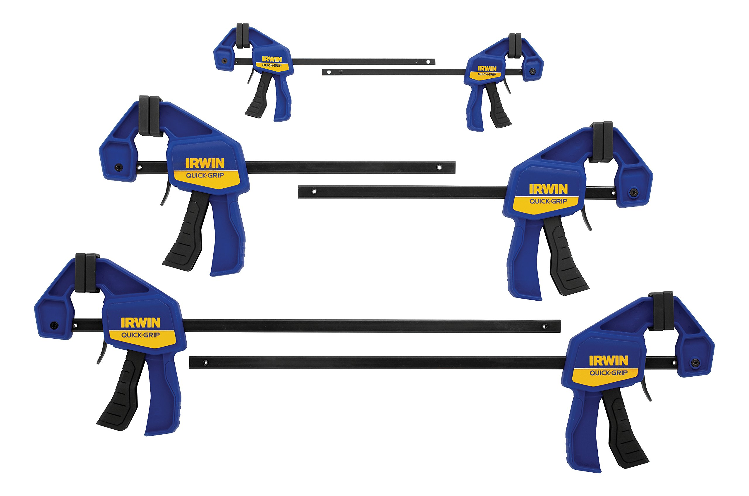 IRWINQUICK-GRIPOne-Handed Mini Bar Clamp 6 Pack, (2) 4-1/4'', (2) 6'', (2) 12'', 1964749