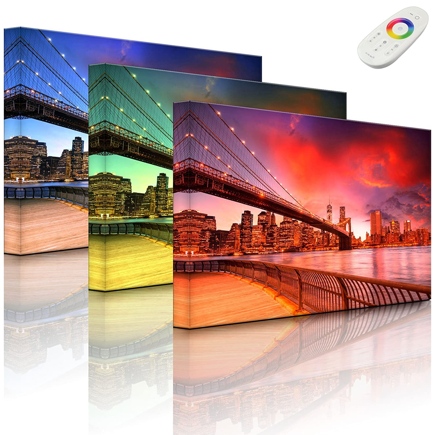 lightbox-multicolor.com Pictures illuminated - Brooklyn Bridge Park New York - 60 x 40 cm - front lighted Rossteutscher GbR