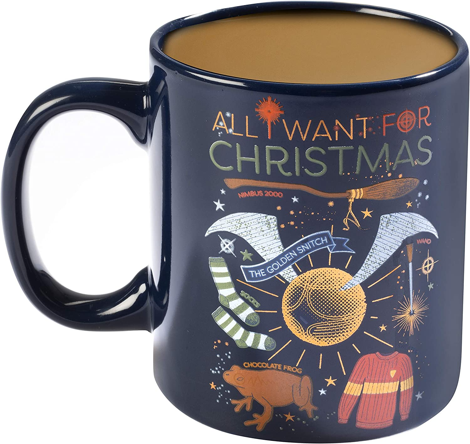 Harry Potter Holiday 11oz Coffee Mug - All I Want for Christmas - A Perfect Gift Featuring The Golden Snitch, Chocolate Frog and More