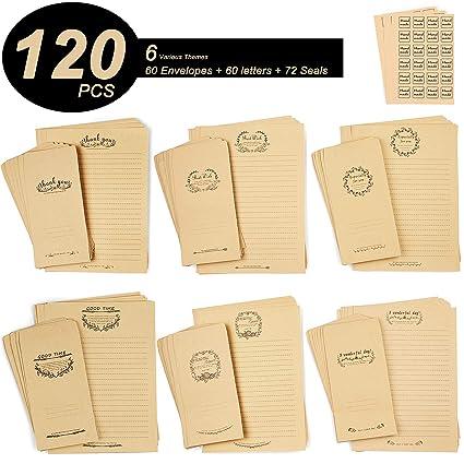 amazon com centerz 6 themes kraft stationery paper envelopes with