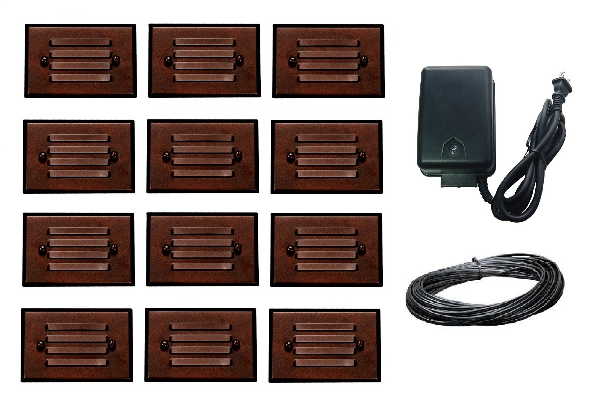 14 Piece Malibu Lighting Kit LED Half Brick Outdoor Deck Step Light Oil Rubbed Bronze Finish + 45 watt Transformer + 100 ft landscape wire. BY MALIBU DISTRIBUTION by Malibu C