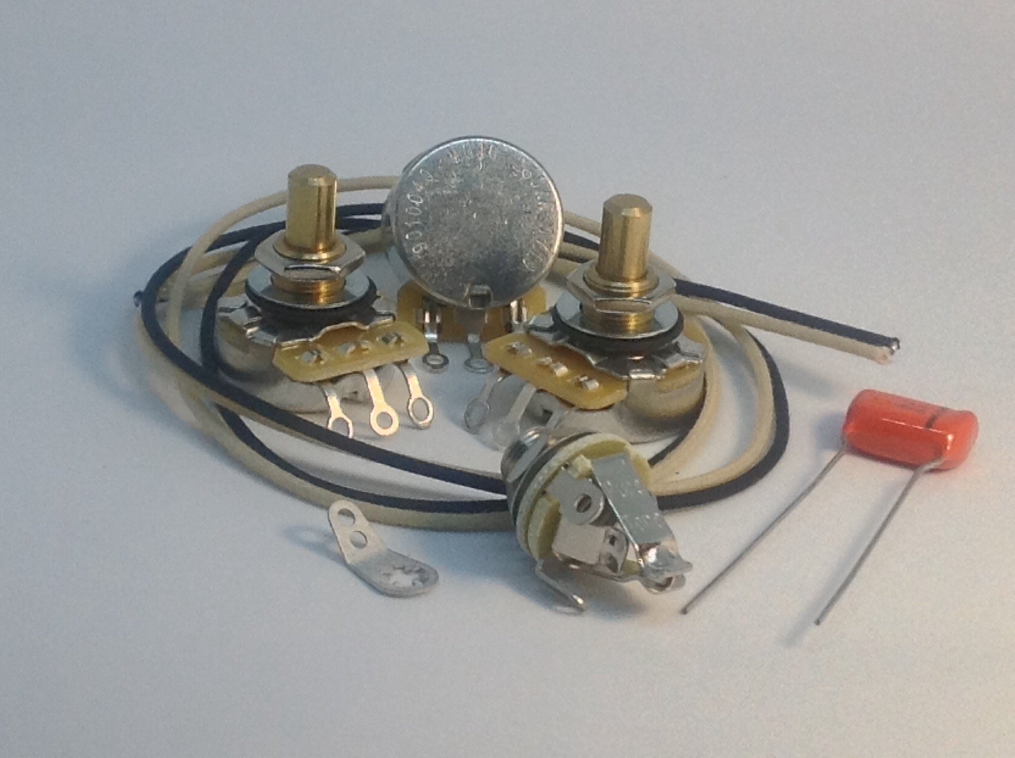 Jazz Bass Wiring Kit CTS Solid Shaft Pots .1uf 225P Orange Drop Gavitt Cloth Wire Pure Tone Full-Contact Output Jack