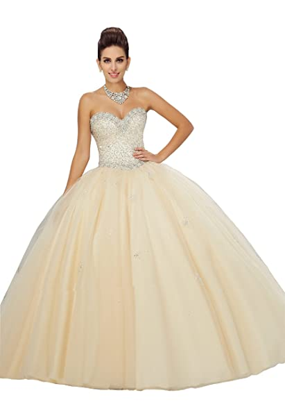 Fanny Womens Sequined Tulle Prom Quinceanera Dress 2017 Strapless Backless Crystal Beads Sequins Graduation Dress Champagne