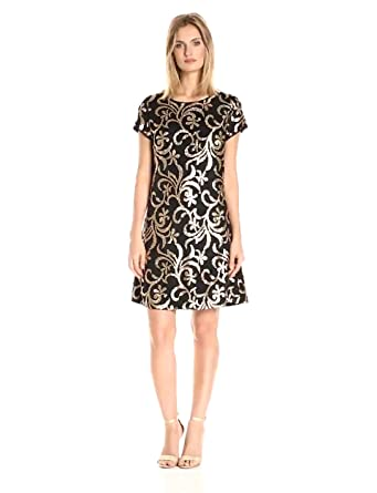 Jessica Simpson Women&-39-s Scroll Embellished Sequin Dress at Amazon ...