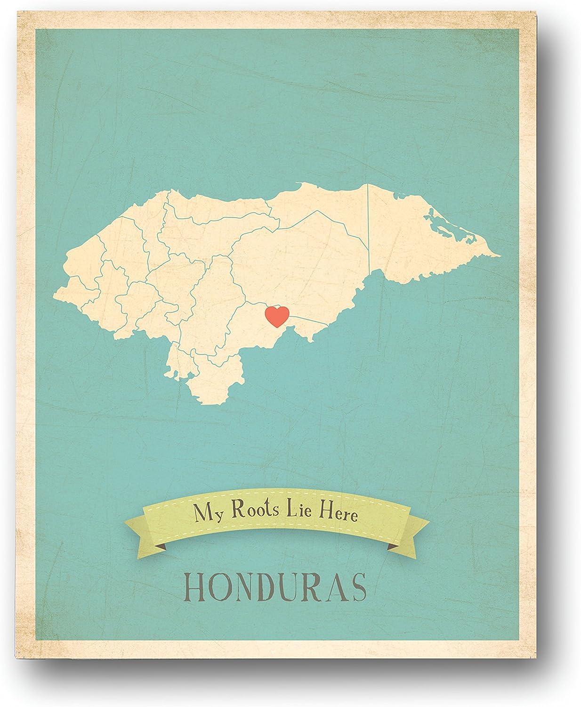 Mapa de pared, mi raíces Honduras personalizado pared mapa 11 x 14 ...