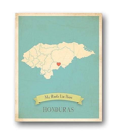 Amazon.com: Wall Map, My Roots Honduras Personalized Wall ...
