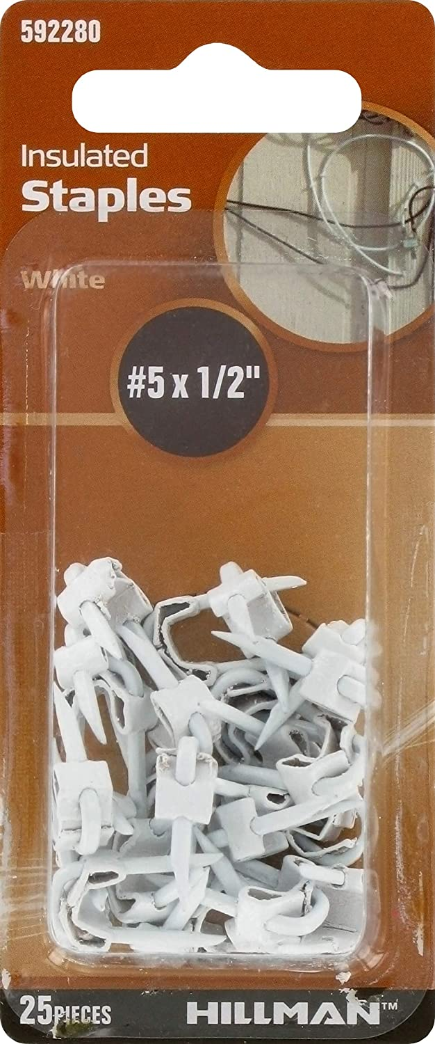 die Hillman Group 592280 Insulated Staples, 5 durch 1/2-Inch, White, 25-Pack