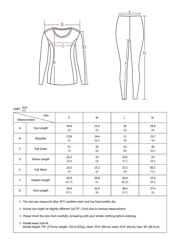 Thermal Underwear for Women Long Underwear Fleece Lined Base Layer Long John Top/& Bottom Set S~XL