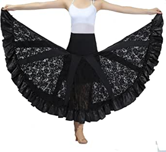 CISMARK Elegant Ballroom Dancing Latin Dance Party Long Swing Race Skirt