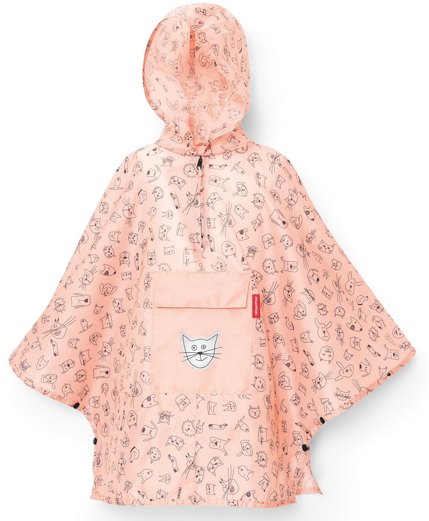 reisenthel Mini Maxi Poncho M Kids, Packable Children's Rain Cloak, Cats and Dogs Rose