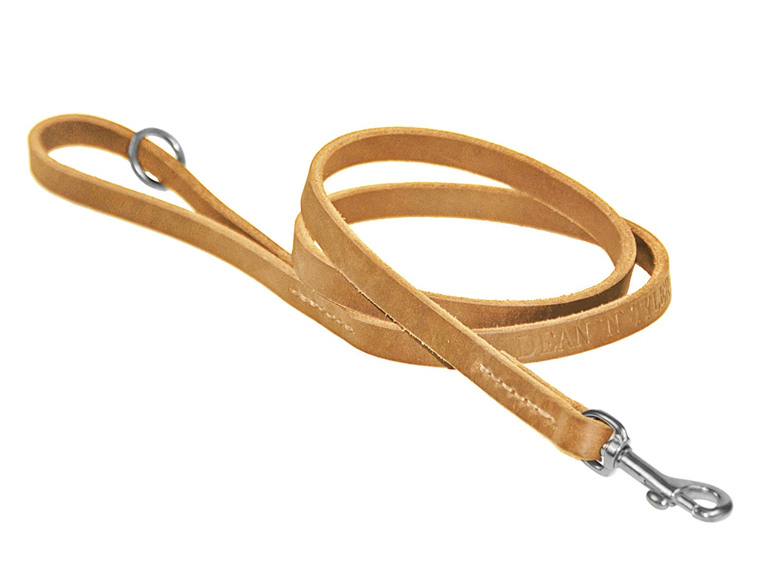 Dean & Tyler No Nonsense Dog Leash with Full Grain Leather and Stainless Steel Hardware, 2-Feet by 1 2-Inch, Tan