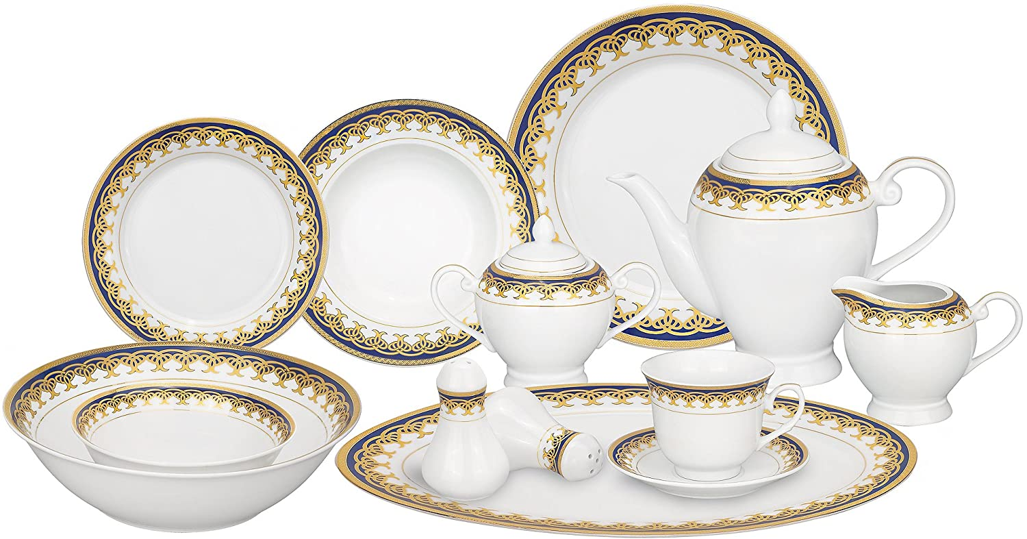 Lorren Home Trends 57-Piece Porcelain Dinnerware Set, Iris, Service for 8