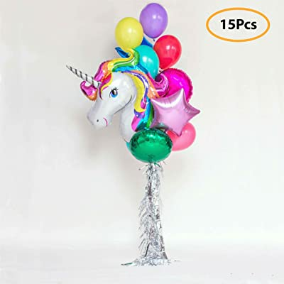 7 Colors Kids Unicorn Balloon Bouquet | Unicorn Party Decoration for Birthday Party, Baby Shower, Wedding | Set Includes Mylar Foil Balloons, Latex Balloons, Silver Fringe | Unicorn Party Supplies: Toys & Games