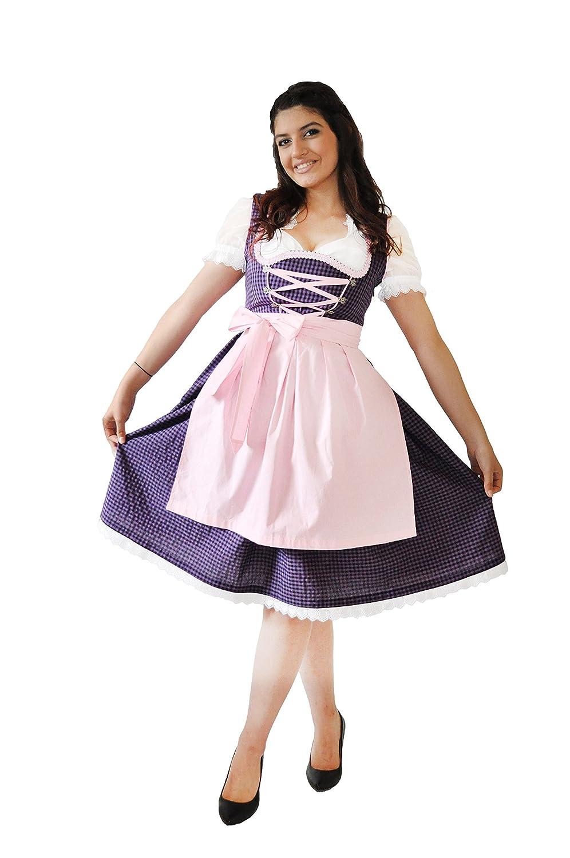 Dirndl Set 3 teilige - Trachtenkleid, Bluse, SchŸrze Ð Midi Dirndl lila und rosa