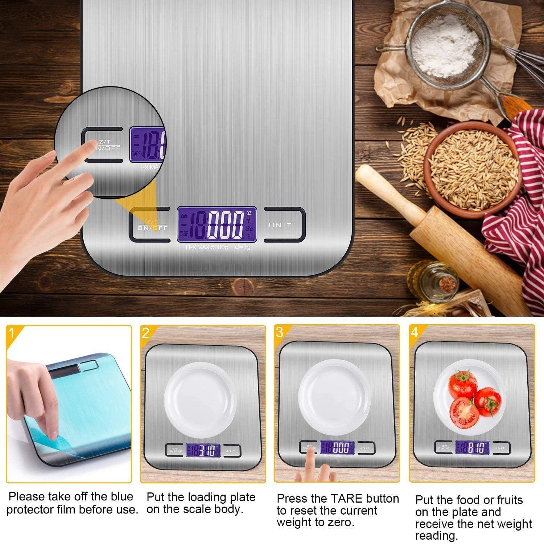 Balanza de Alimentos Multifuncional con 2 Bater/ías B/áscula de cocina,Smart Digital B/áscula con Pantalla LCD para Cocina de Acero Inoxidable -WH2 5kg//11lbs funci/ón de Tara Alta precisi/ón hasta 1g