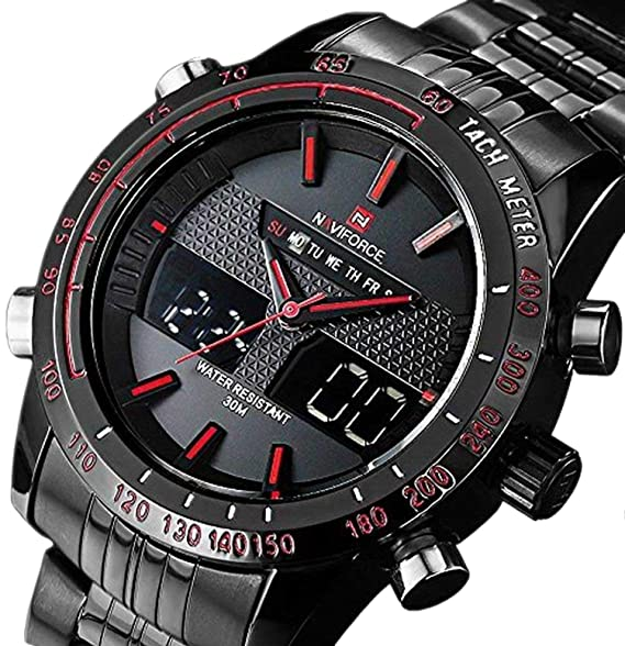 7a48608d2 NAVIFORCE Quartz Analog Digital Watches Mens Steel Waterproof Army Military  Sports Watch: Amazon.ca: Watches