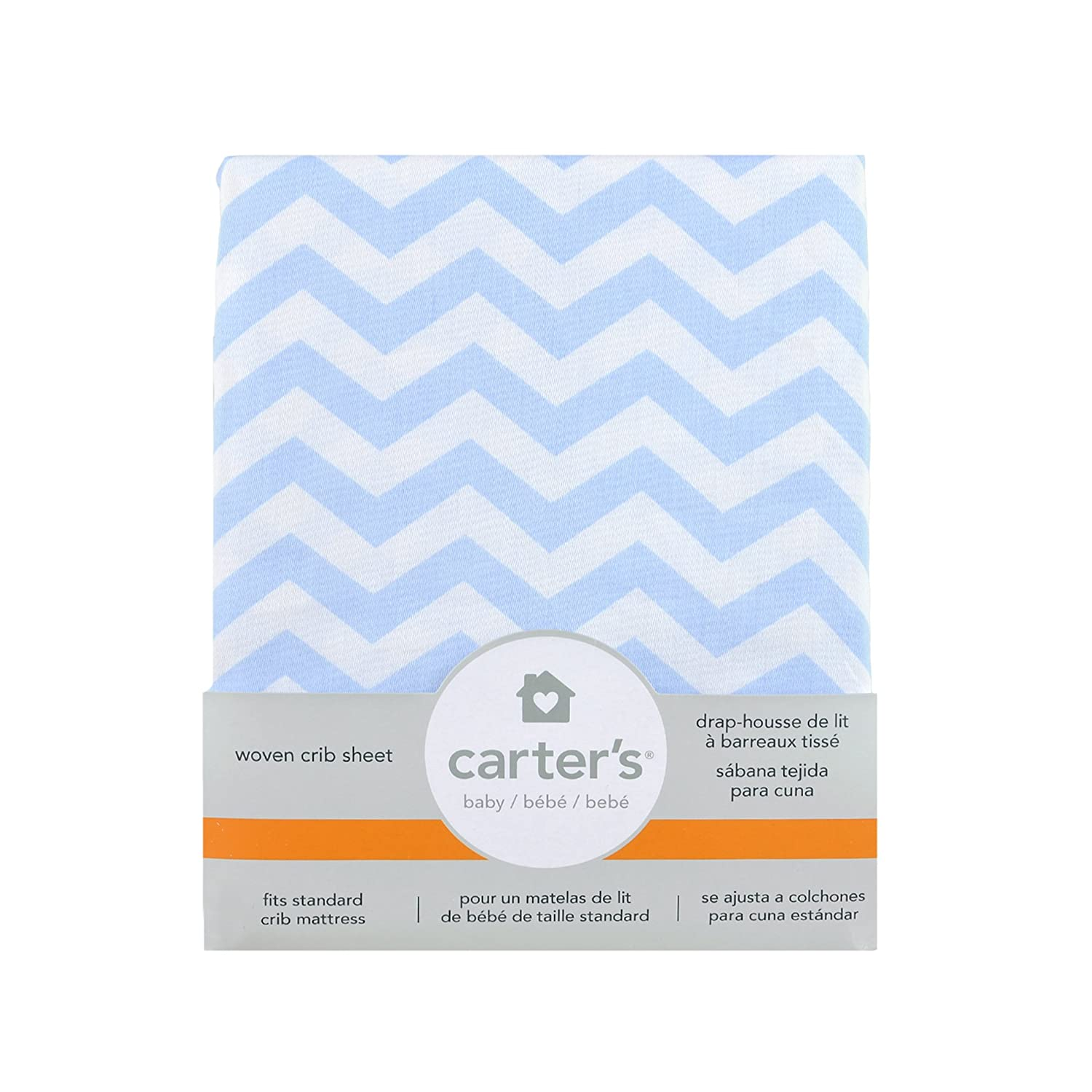 Carters Cotton Fitted Crib Sheet, Cloud Blue Chevron