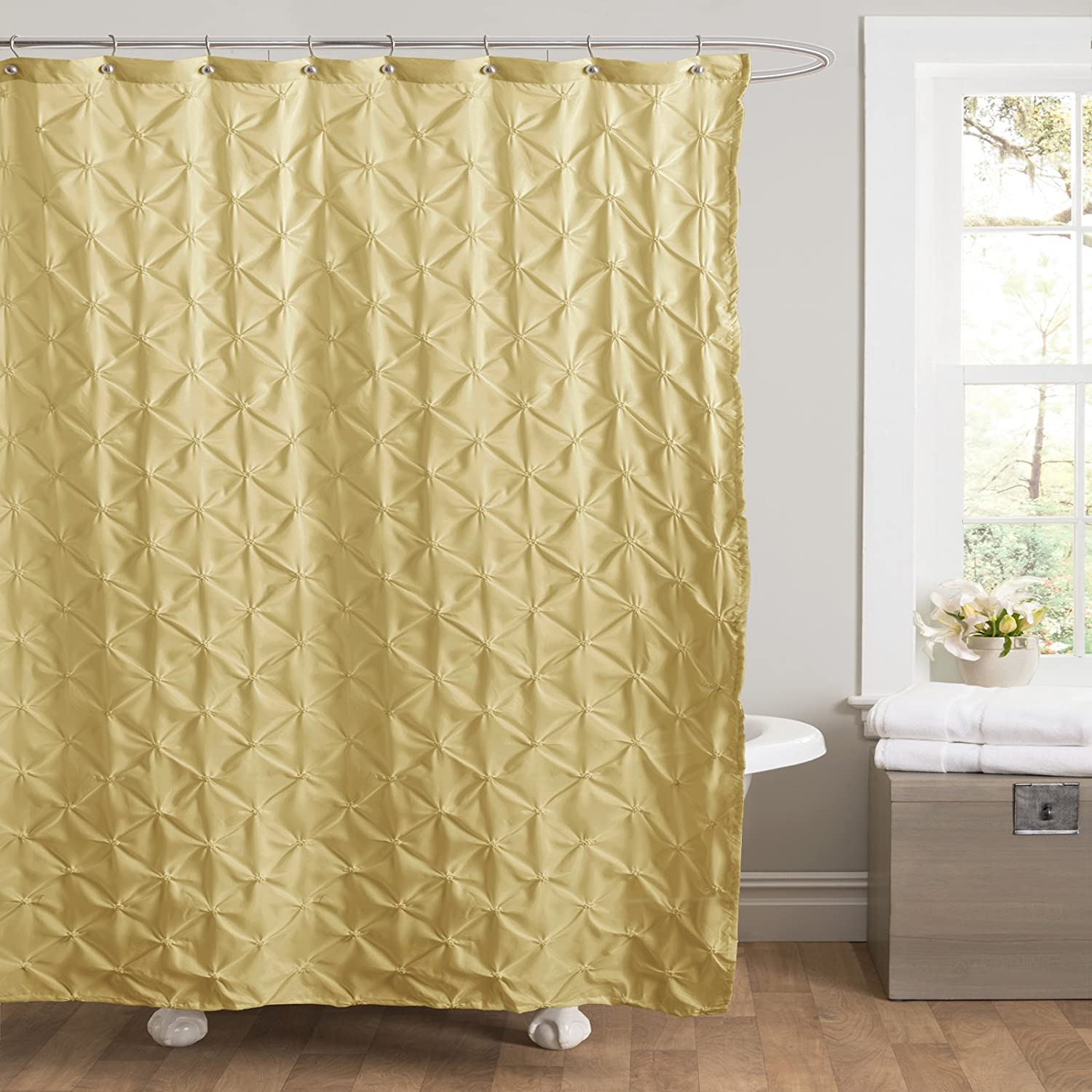 Amazon Lush Decor Lake Como Shower Curtain 72 By Inch Yellow Home Kitchen