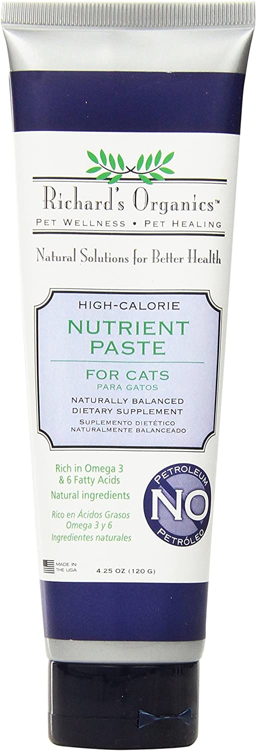 Richard's Organics Nutrient Paste for Cats, 4.25 oz. – Naturally Balanced High-Calorie Dietary Supplement– Stimulates Appetite with Vitamins, Antioxidants, Fatty Acids – 100% Petroleum Free
