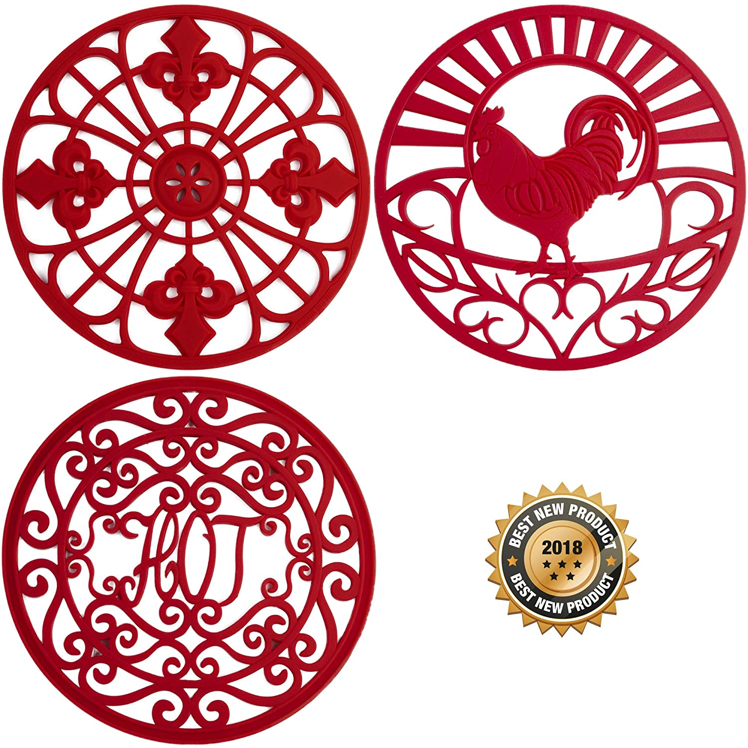 "Silicone Trivets Set For Hot Dishes | Modern Kitchen Hot Pads For Pots & Pans | Mixed Design (Country Decor) Mimics A Cast Iron Trivet (7.5"" Round, Set of 3, Coral Red)"