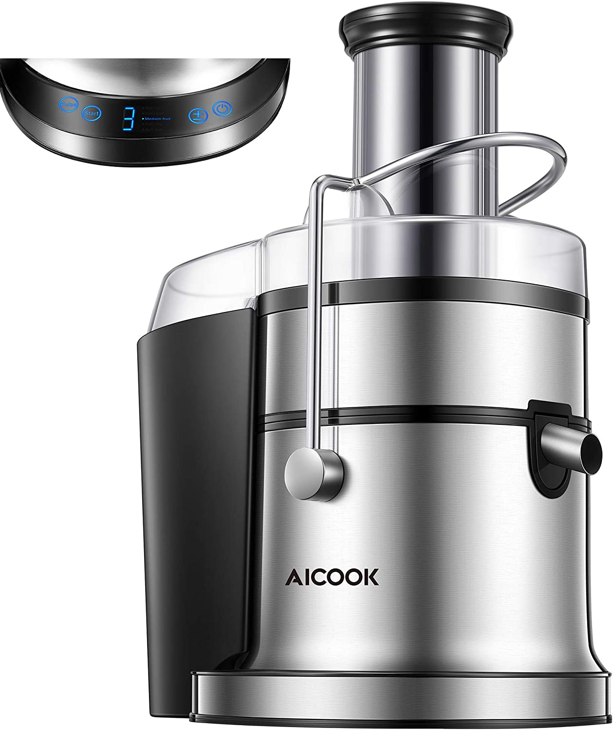 Juicer, AICOOK 800W Juice Extractor with 5 Settings(LCD Display), Wide Mouth 3