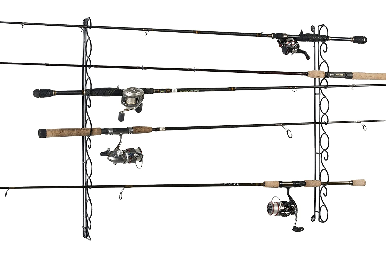 Organized fishing rod rack ceiling mount pole reel holder for Wall fishing rod holder