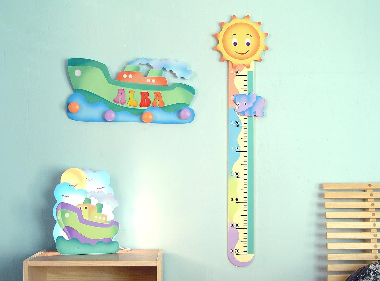 Medidor infantil de madera con un Sol
