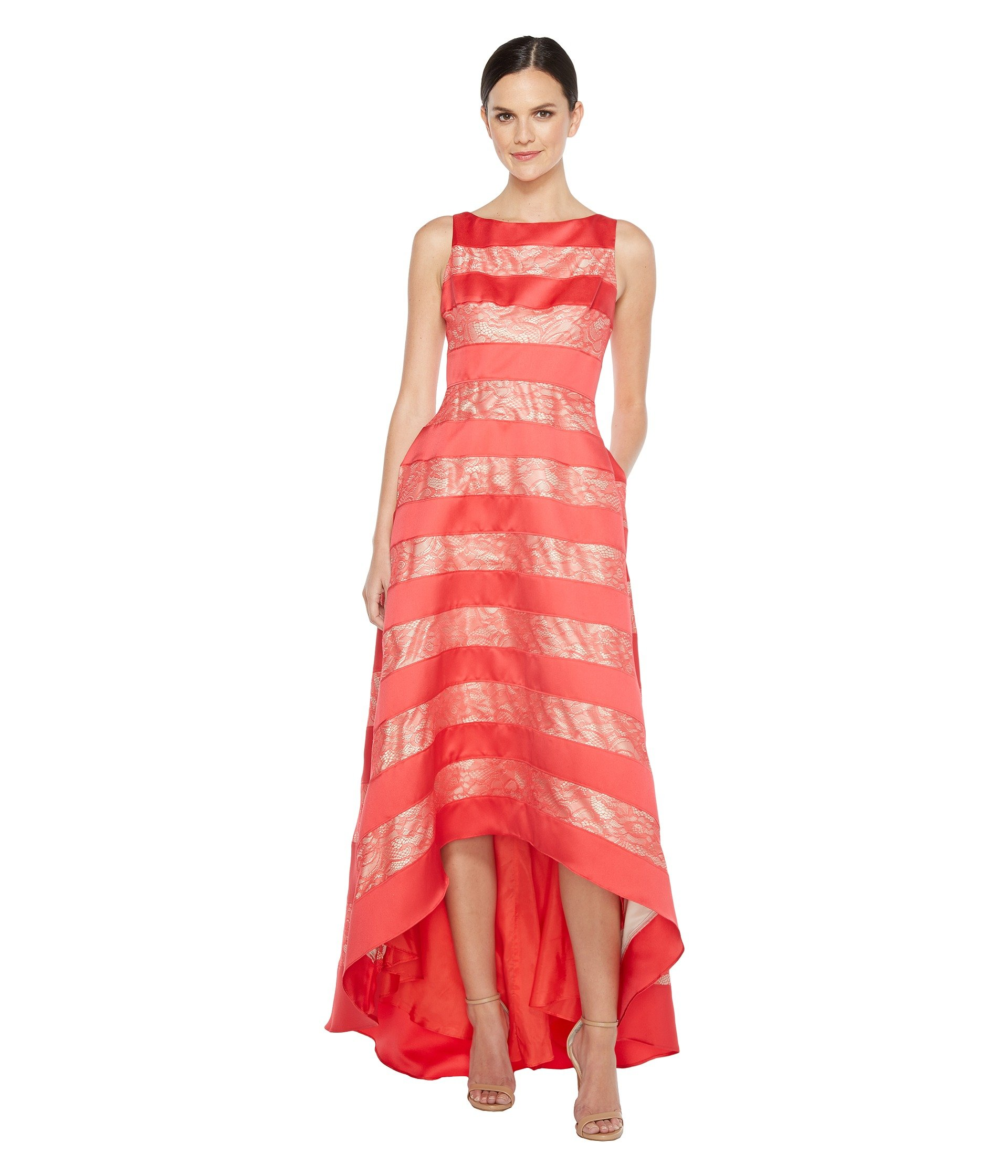 Adrianna Papell Women's Striped Lace & Mikado Hi-low Dress Hot Tomato 4