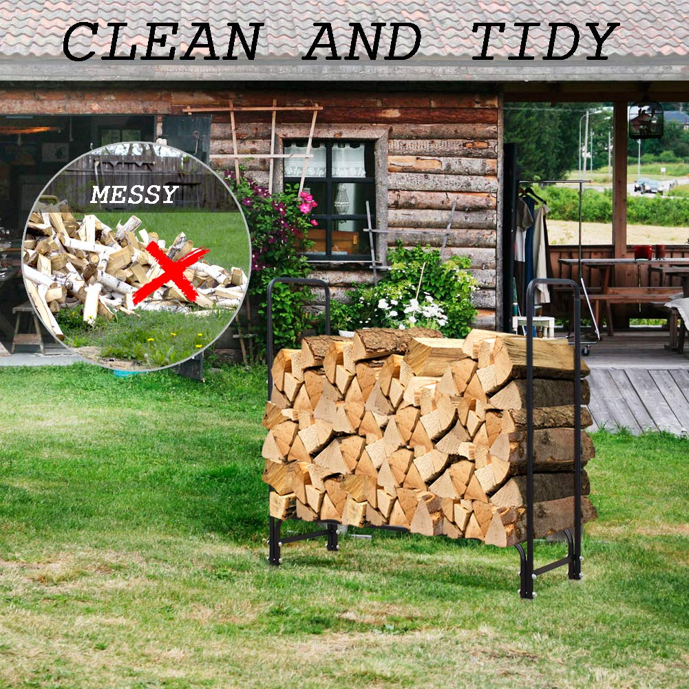 INNO STAGE 4 Foot Firewood Log Rack Durable Log Storage Holder Fire Wood Pile Racks for Fireplace Patio Outdoor