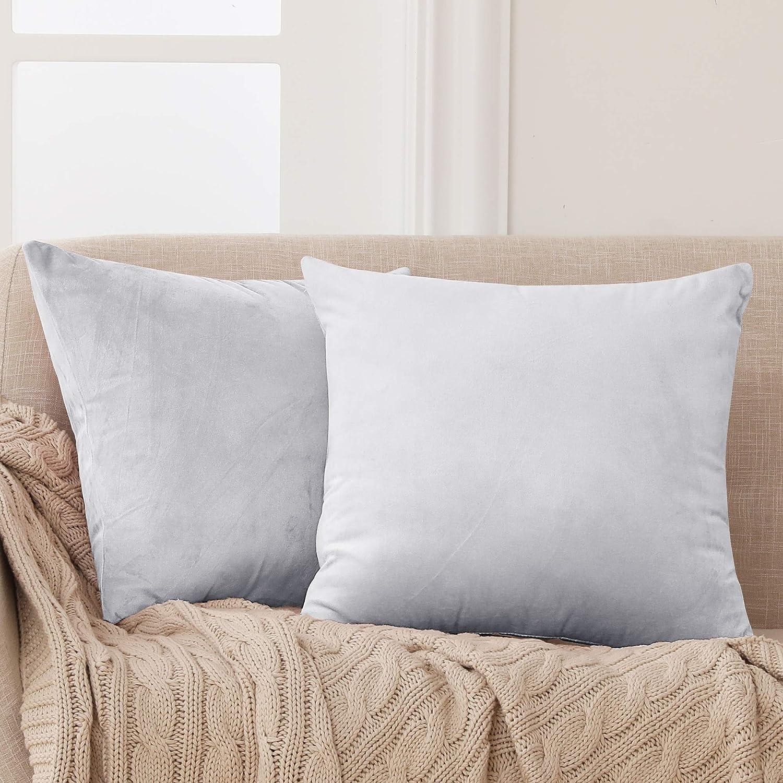 Deconovo Fundas para Cojines de Almohada del Sofá Cubierta Suave Decorativa Protector para Hogar 2 Piezas 40 x 40 cm Gris Claro