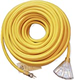 100 ft 10 Gauge Heavy Duty Indoor Outdoor SJTW Lighted Triple Outlet Extension Cord by Watts Wire - Yellow 100 foot 10 AWG Copper Lighted Multi Outlet Grounded 10/3 Extension Cord